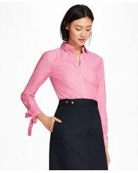 Brooks Brothers - Bow-cuff Striped Cotton Poplin Shirt - Lyst