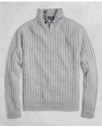 Brooks Brothers - Golden Fleece® 3-d Knit Saxxontm Reserve Button Mockneck Sweater - Lyst