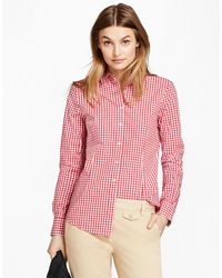 Brooks Brothers - Gingham Stretch Cotton Poplin Shirt - Lyst