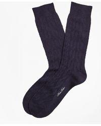 Brooks Brothers - Merino Wool Cable Crew Socks - Lyst