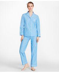 Brooks Brothers - Striped Cotton Poplin Pyjama Set - Lyst