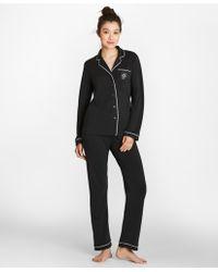 Brooks Brothers - Logo-embroidered Pima Cotton Interlock Jersey Pajama Set - Lyst