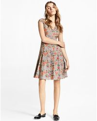 Brooks Brothers - Floral-embroidered Mini-houndstooth Cotton Dress - Lyst