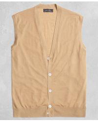 Brooks Brothers - Golden Fleece® 3-d Knit Fine Gauge Button Vest Sweater - Lyst