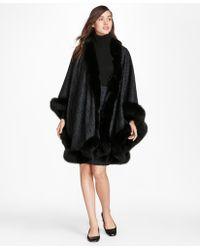 Brooks Brothers - Scroll-print Fox-fur-trimmed Cashmere Ruana - Lyst