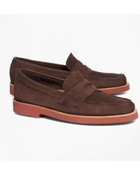 Brooks Brothers - Nubuck Penny Loafers - Lyst