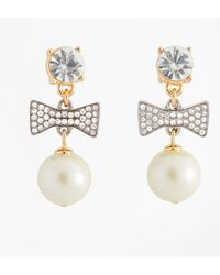 Brooks Brothers - Glass Pearl And Rhinestone Bow Drop Earrings - Lyst