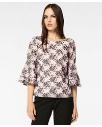 cf9188b52462e Brooks Brothers - Floral-embroidered Striped Cotton-silk Jacquard Blouse -  Lyst