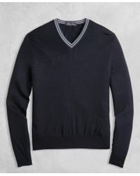 Brooks Brothers - Golden Fleece® 3-d Knit Merino Fine-gauge V-neck Sweater - Lyst