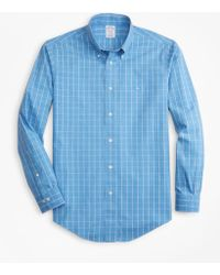 Brooks Brothers - Non-iron Regent Fit Windowpane Sport Shirt - Lyst