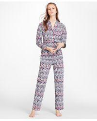"Brooks Brothers - ""b""-print Cotton Poplin Pajama Set - Lyst"