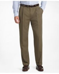 Brooks Brothers | Madison Fit Pleat-front Unfinished Gabardine Trousers | Lyst
