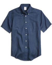Brooks Brothers - Regent Fit Linen Short-sleeve Sport Shirt - Lyst