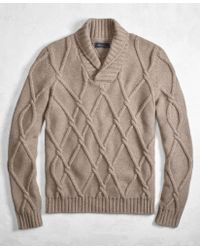Brooks Brothers - Golden Fleece® 3-d Knit Cashmere Blend Cable Shawl Collar Jumper - Lyst