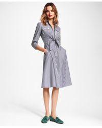 Brooks Brothers - Striped Cotton Poplin Tie-waist Shirt Dress - Lyst