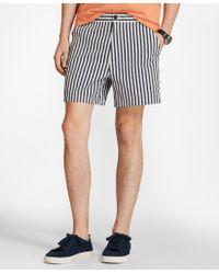 """Brooks Brothers - Retro-fit 41⁄2"""" Striped Swim Trunks - Lyst"""