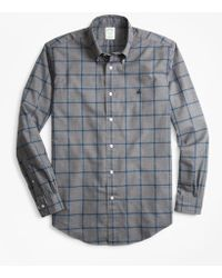 Brooks Brothers - Milano Fit Windowpane Brushed Oxford Sport Shirt - Lyst