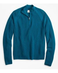 Brooks Brothers - Half-zip Merino Wool Ribbed Jumper - Lyst