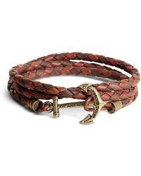 Brooks Brothers | Kiel James Patrick Leather Wrap Bracelet | Lyst