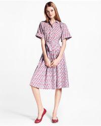 Brooks Brothers - Hula-dancer-print Cotton Sateen Shirt Dress - Lyst