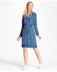 Brooks Brothers | Foulard-print Crepe Shirt Dress | Lyst