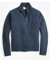 Brooks Brothers - Donegal Wool-blend Zip-up Sweater - Lyst