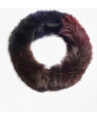 Brooks Brothers - Color-block Fox-fur Convertible Scarf-headband - Lyst