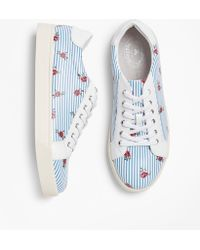 Brooks Brothers - Rose-print Striped Leather Low-top Trainers - Lyst
