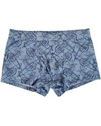 Vivienne Westwood - Underwear Light Blue Scribble Orb Logo Trunks - Lyst