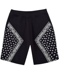 Neil Barrett - Black/white Paisley Design Jogger Shorts - Lyst