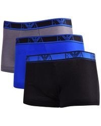 Emporio Armani - Black/blue/charcoal Three Pack Trunks - Lyst