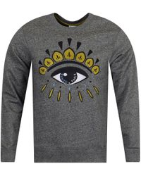 KENZO - Anthracite Grey/gold Eye Logo Sweatshirt - Lyst