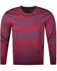 6ac086c0106 Polo Ralph Lauren - Burgundy Stripe Long Sleeve T-shirt - Lyst