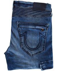 True Religion - Mid Wash Cargo Biker Skinny Jeans - Lyst