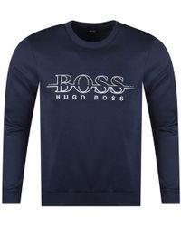 BOSS Athleisure - Navy Slim Fit Sweatshirt - Lyst