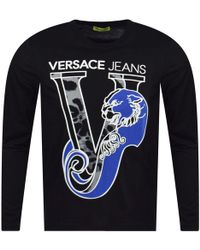 Versace Jeans - Black Tiger Logo Long Sleeve T-shirt - Lyst