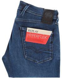 Replay - Dark Blue Hyperflex Slim Jeans - Lyst