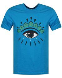 KENZO - Turquoise Eye Logo T-shirt - Lyst