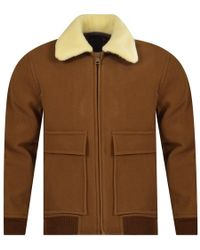 A.P.C. - Shearling Collar Jacket - Lyst