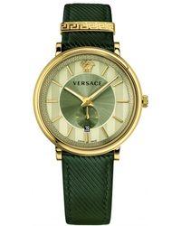 Versace - Khaki Leather Strap Watch - Lyst