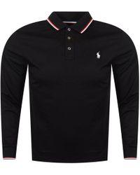 Polo Ralph Lauren - Black Tipped Collar Long Sleeved Polo Shirt - Lyst