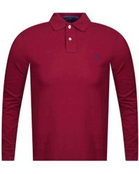 Polo Ralph Lauren - Burgundy Long Sleeve Polo Shirt - Lyst