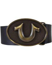 True Religion - Black Horseshoe Buckle Belt - Lyst