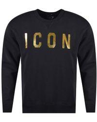 DSquared² - Black/gold Icon Sweatshirt - Lyst