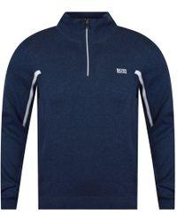 BOSS - Athleisure Blue/white Half-zip Jumper - Lyst