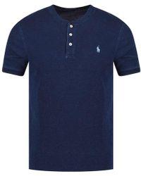 Polo Ralph Lauren - Indigo Blue Grandad Polo Shirt - Lyst