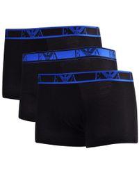 Emporio Armani - Black/blue Three Pack Boxer Trunks - Lyst