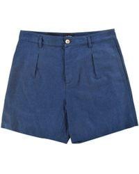 A.P.C. - Apc Navy Linen Shorts - Lyst