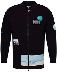 KENZO - Black Zip Up Long Sweatshirt - Lyst