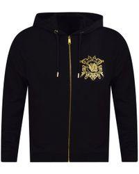 Versace Jeans - Black/gold Chest Logo Zip Hoodie - Lyst